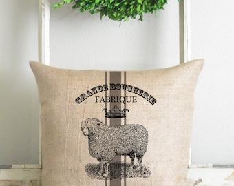 Burlap Collection_Sheep 20 x 20 Pillow Cover // Home Decor // Cushion // Throw Pillow // Gift // Present