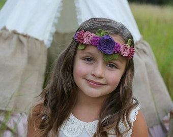 Felt flower crown - baby, toddler girls headband  - flower girl headband - flower garland
