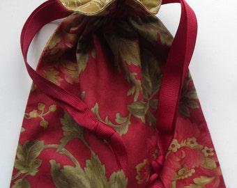 Red Floral Lined Drawstring Bag
