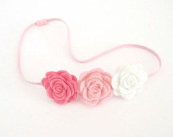 Pink Flower Headband/ Thin Elastic Headband/ Flower Girl Headband/ Felt Flower Headband