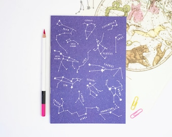 STAR CONSTELLATIONS NOTEBOOK Educational Purple Colour Plain Pages Scientific Stationery Lover Nerd Geek Back School Teacher Gift Astronomy