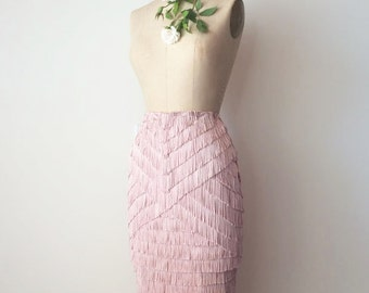 Women's Fringe / Tassle High Waisted Pencil Skirt - Dusty Rose, Size M (Dress size 6), One-of-a-Kind