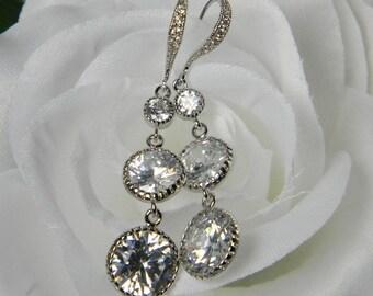 Round Cubic Zirconia Clear White Bridal Drop Dangle Earrings CZ Earrings, Bridal Earrings Statement Earrings - CZ21