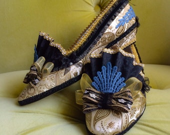 Marie Antoinette Costume Heels Shoes Black Gold Blue Brocade Jacquard Baroque Rococo Fantasy Pumps 18th Century Wedding Shoes Heels CUSTOM