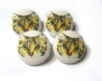 Fabric covered buttons Cats Kitten, bag purse ecru yellow buttons, funny cartoon cat children kids buttons, sewing buttons, sweater buttons