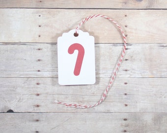 Christmas Gift Tags, Set of 10 Red and White Tags with Candy Cane, Holiday Gift Tags, Candy Cane Theme, Candy Cane Christmas Tags