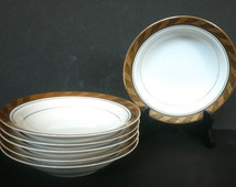 Sale〜Sango Imperial Deluxe Fruit - Dessert - Sauce Bowl Set in CLEOPATRA© / Set Of 6 Gold Trim /Made in Japan / Kitchen and Dining / Serving