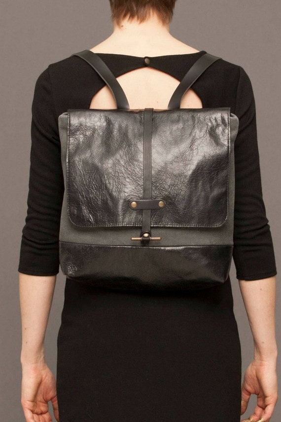 SILVER -  leather backpack - black and grey
