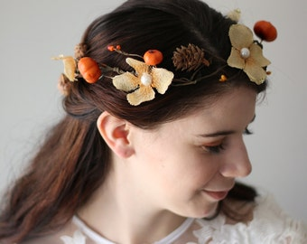 Golden Pumkin & Flower Fall Wedding Hair Accessory Bridal Circlet Wreath