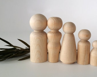 Wooden Peg Dolls / Family of 5 / Peg People / Waldorf / Unfinished Maple Ready to Paint