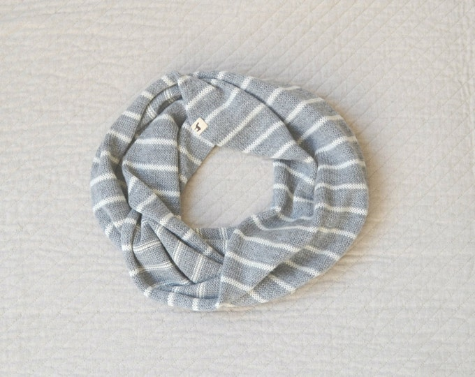Striped Infinity Scarf / Loop Scarf / Cowl Scarf / alpaca wool Circle Scarf / woman /children / gray / striped white and brown