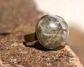 Dandelion ring, seed ring dandelions, flower ring, statement ring, handmade ring, adjustable ring, nature ring, natural jewellery, gardener