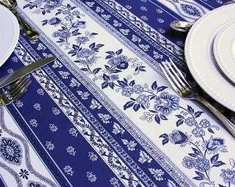 "72 to 130"" Oval or Rectangle Coated  i.e Oilcloth Laminated Tablecloth Avignon Marine - Extra Wide sizes available. Umbrella Hole Available"