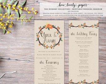 Printable Fall Wedding Program - the Hickory Collection