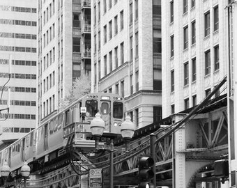 Chicago CTA L train photo print, black and white photography, paper or canvas picture, city art wall decor 5x7 8x10 11x14 12x16 16x20 20x30