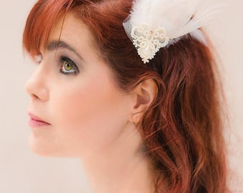 Bridal headpiece tatted lace ornament feathers wedding fascinator