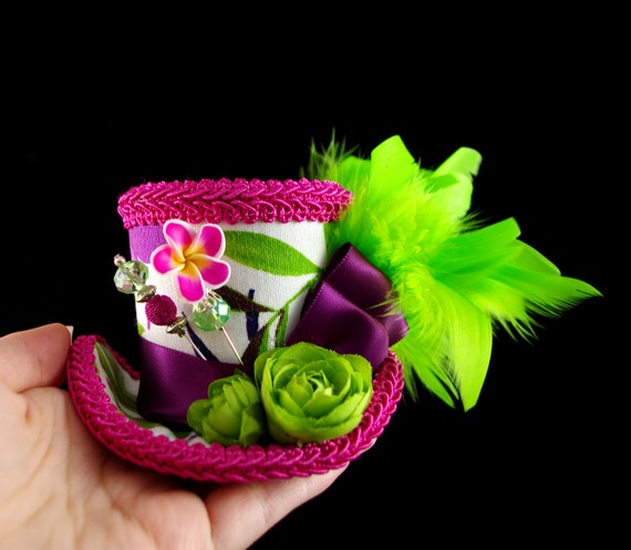Pink, Purple, Green, and White Floral Small Mini Top Hat Fascinator, Alice in Wonderland, Mad Hatter Tea Party