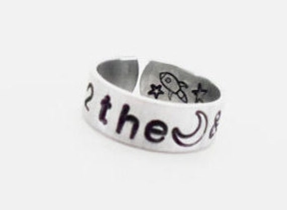 Message Cuff Ring, Love You To the Moon And Back,  Inspirational, Quote Jewelry, Customizable Gift