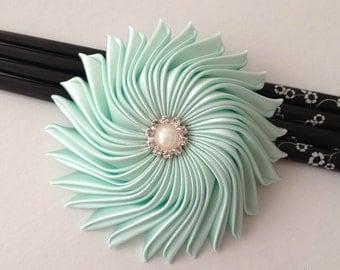 Green satin flower fascinator, wedding hair accessory, bridal head piece, bridesmaid hair clip, Mint Fascinator