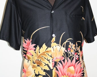 Vintage Black Flowered Resort Line Hawaiian shirt Size L