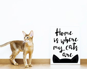 Home is where my cats are - cat lovers art print - black and white cat poster - new home gift for pet lover - crazy cat lady wall hanging