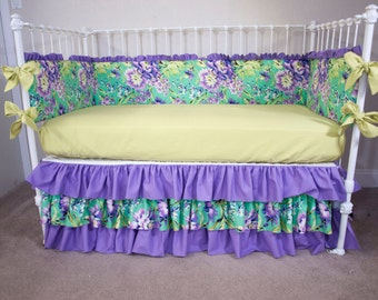Floral Toddler Daybed Bedding in Emerald, Purple, and Fresh Green made with Love Bliss Bouquet Fabric