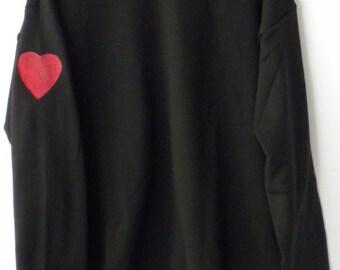 Heart sweatshirt, Heart on my Sleeve, Black crewneck Sweatshirt, Heart, Graphic, love, rocker, Hand-painted Heart, Valentines Gift