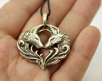 Wolf Fox Coyote Couple bronze pendant necklace