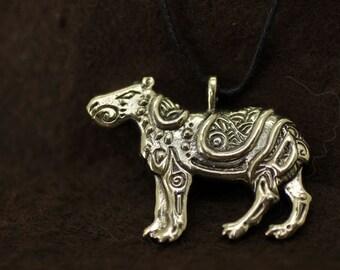 Capybara bronze pendant necklace
