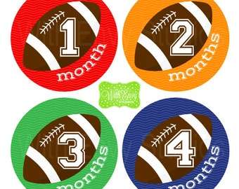 Football Milestone Stickers - Baby Monthly Stickers - Baby Bodysuit Stickers - Sports Monthly Baby Stickers - Boy Monthly Stickers - 024