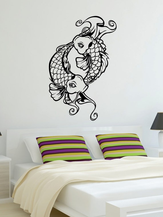 Koi fish version 2 decal sticker wall vinyl art asian japanese for Koi wall decal