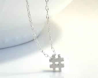 Silver Hashtag Necklace, # silver necklace, Tiny Hash Tag Necklace, Silver Hashtag Necklace, Gold Hashtag Necklace, Hashtag charm