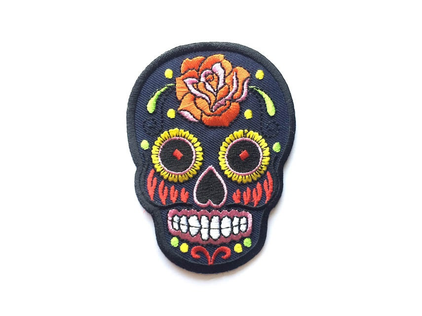 Sugar Skull Patch / NAVY / Sugar Skull Iron-on Patches