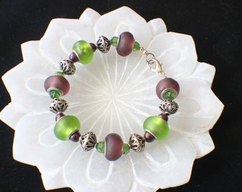 Green, purple, silver, glass bead bracelet (B39) hand made