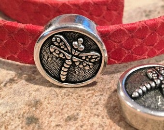 10mm Flat Leather Antique Silver Zamak Button Slider, TierraCast Dragonfly, Flat leather bracelet diy jewelry supplies
