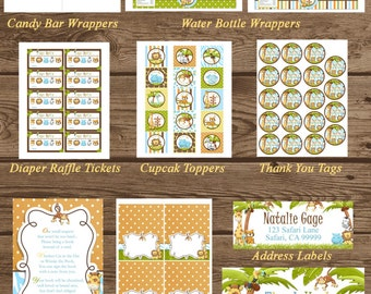 JUNGLE Baby Shower PARTY PACK, Printable Digital Files, Jungle Party Pack, Baby Shower, Baby Shower Party Pack, Jungle Printables, Jungle
