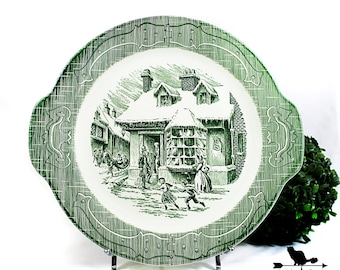 Old Curiosity Shop Platter, Dickens Inspired Green Transferware, Victorian Winter Scene, Vintage Serveware Collectible