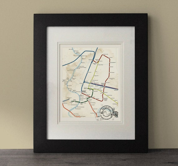 Bangkok map vintage inspired map bangkok wall art rustic - Vintage inspired wall art ...