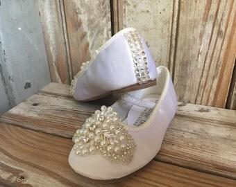 Flower Girl Toddler wedding shoe Embellished Christening shoe