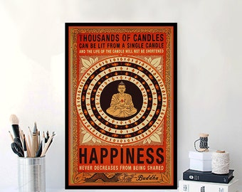 Vintage Buddha Poster PRINTABLE FILE -  happiness, mantra, chakra art decor, meditation poster, motivational quote, inspirational, yoga art