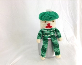 Green and White Hand Knitted Scottish Stuffed Companion