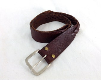 Dark Brown Braided Leather Belt with Hand tooled flower designs