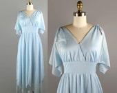 70s Dress / 1970s Flutter Sleeve Dress / 70s Boho Baby Blue Fairy Dress