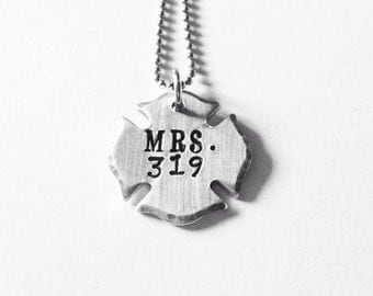 Firefighter wife necklace-fireman jewelry-police- thin red line-firefighter gift-firefighter cross necklace-maltese cross jewelry- fire wife