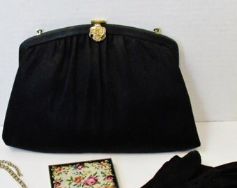 1960's Harry Levine Small Black Fabric Purse with Gold Floral/Rhinestone Clasp