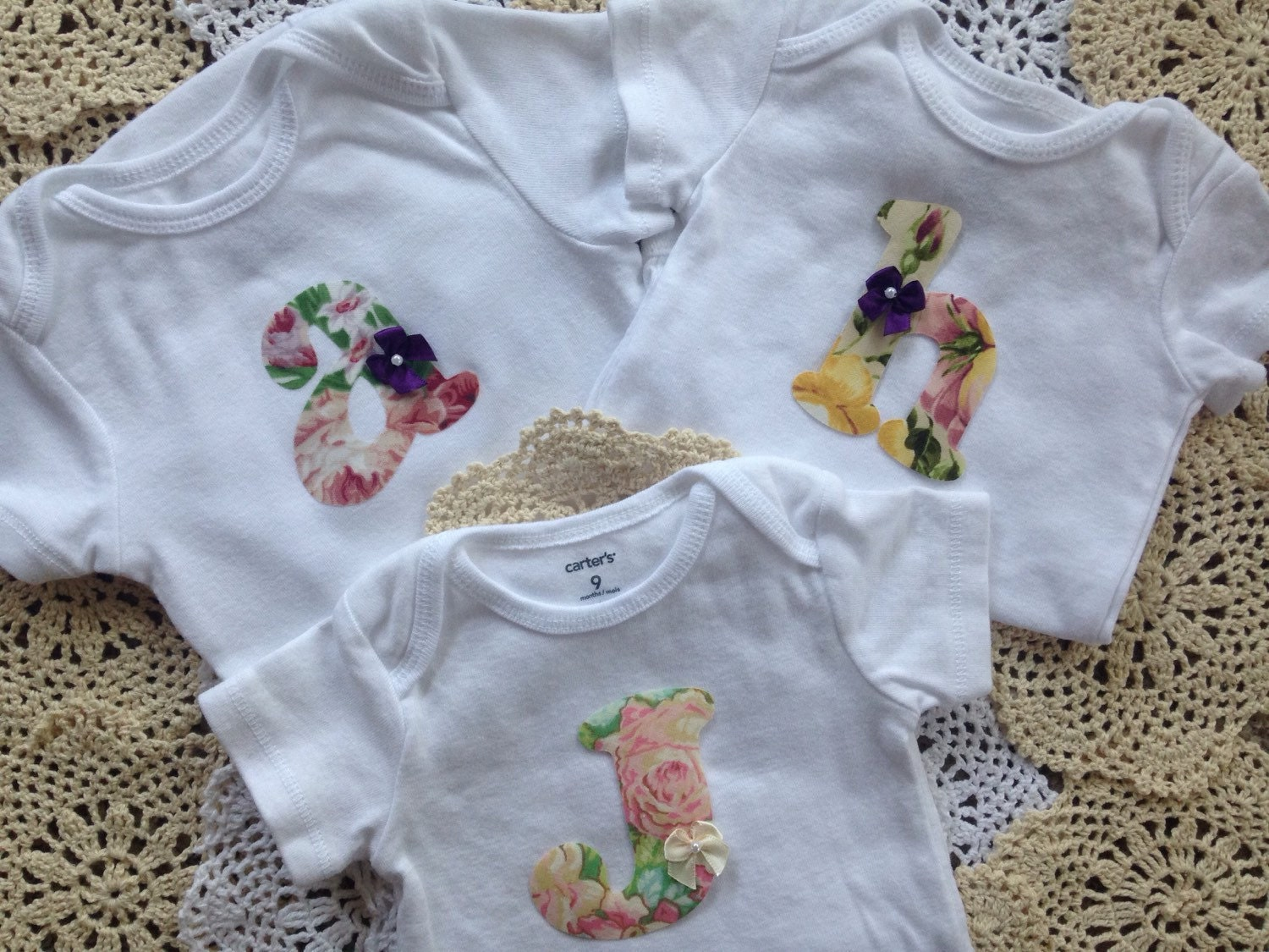 Baby Girl Clothes Vintage Garden Baby Initials PICK YOUR