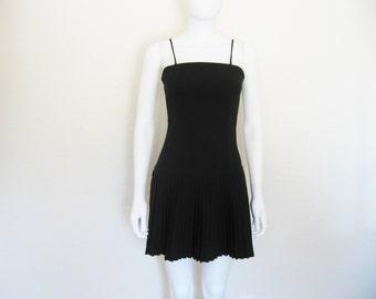 90s BLACK Pleated Drop Waist Dress