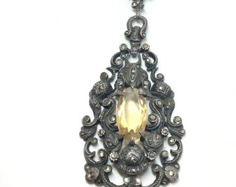 Amazing Antique Necklace circa 1890s Silver, Marcasite and Citrine