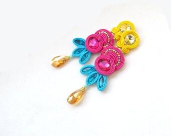 Unique Colorful Long Soutache Earrings - Long Clip On Earrings - Multicolor Earrings - Handmade Earrings from Poland - Rhinestones Earrings