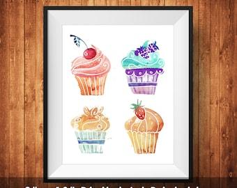 Cupcake Wall Art cake wall art | etsy